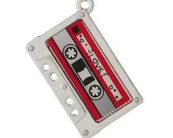 2 Retro Cassette Tape Charms, Silver Tone