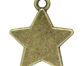 5 Star Charms, Antique Bronze Tone (1L-123)