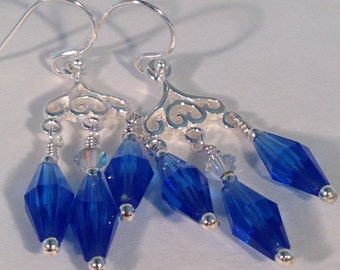 Royal blue chandelier earring – Etsy:Delicate Royal Blue Chandelier Earrings with Vintage Crystals and Sterling  Silver,Lighting