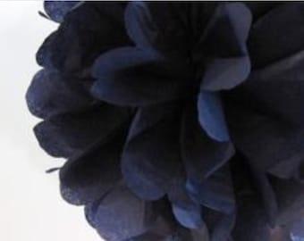 Navy Blue Tissue Paper Pom Poms