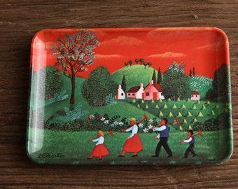 vintage plate / food plate / paint plate / countryside paint / vintage decoration