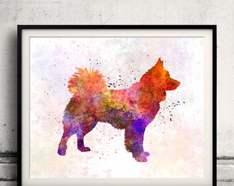 Icelandic Sheepdog in watercolor INSTANT DOWNLOAD 8x10 inches Fine Art Print Poster Decor Home Watercolor - SKU 1095