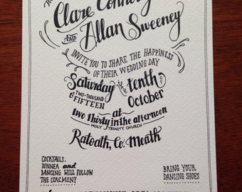 Personalised Hand Lettered Wedding Invitation **** Digital File****