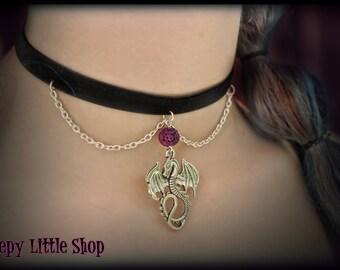 Dragon choker,dragon choker necklace,dragon collar,silver dragon choker,charm gothic choker,dragon choker game of thrones,choker necklace