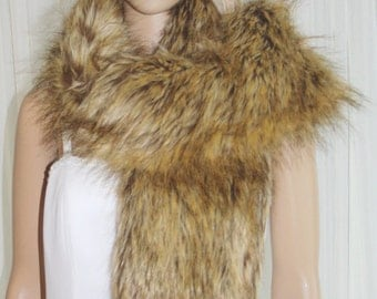 Golden Fox Faux Fur Scarf  Brand New !!