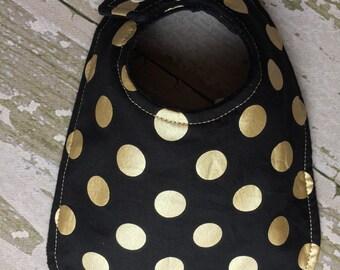 Baby bibs/gold and black polka dot baby bib