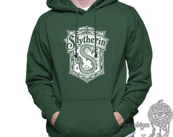 Slyth Crest #2 White Color printed on Forest Green, Black, or Maroon Hoodie