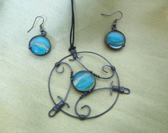 Stained Glass Galaxy Pendant, Earrings set - stained glass. Handcrafted, made with Tiffany techniques. Galaxy Pendant, Galaxy Earrings.