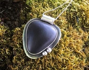 Rosario Beach Stone Pendant, Sterling Silver