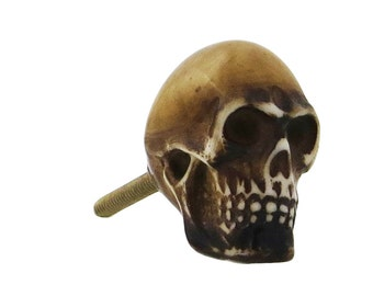 Brown Skull Knob Pull for Cabinets, Drawers, Dressers, Doors & Furniture - i162