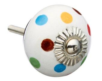 Polkadots Ceramic Knob Dresser knob, Bathroom knob, Cabinet knob, dresser pull - M160s