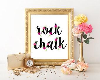 Rock Chalk Jayhawk KU Floral Printable (8x10)