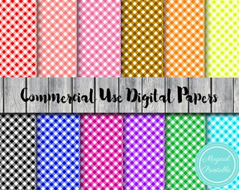 Gingham Digital papers, Rainbow Gingham Instant Download Digital Papers, Commercial Use, Scrapbook Digital Papers, Digital Background, DP110