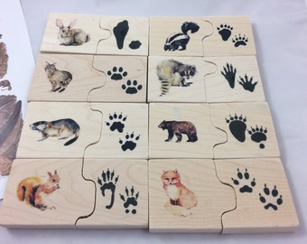 Animal tracks puzzle - wooden puzzle - montessori - waldorf - stocking stuffer - gift for nature lover - gift for kids