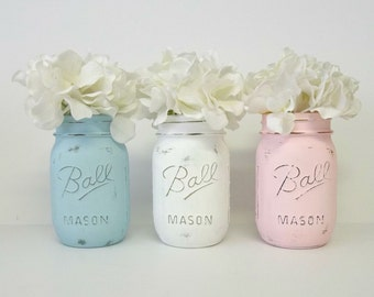 Pink, Blue & White Shabby Chalky Painted Mason Jars