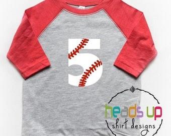 Five Birthday Shirt Baseball Raglan Boy/Girl - 5th Bday Tee Boy/Girl Baseball - Fifth Birthday tshirt Baseball/Softball - Trendy 5 - Gift