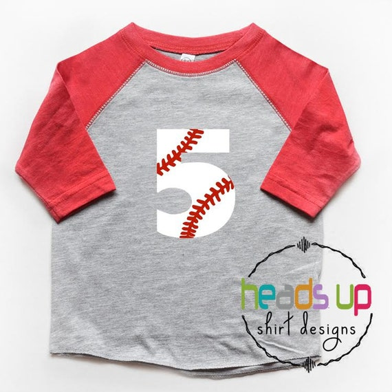 Five Birthday Shirt Baseball Raglan Boy/Girl 5th Bday Tee