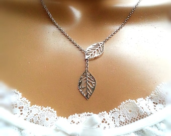 Silver Filigree Leaves Lariat Necklace Gift For Her Women's Gift