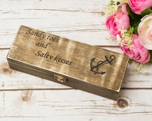 Beach Wedding Gift Box Sandy Toes and Salty Kisses Sign Box Keepsake Anchor Beach wedding Gift boxes Favor Box
