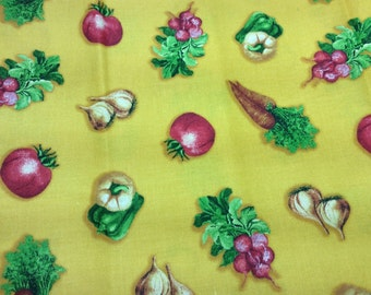 VIP by Cranston yellow background with tomatoes garlic,radishes, peppers, and carrots