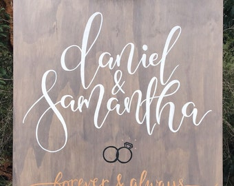 Engagement welcome sign. Couples name board. Wedding sign. Wooden wedding welcome sign. Wedding sign Australia. Calligraphy wedding sign.