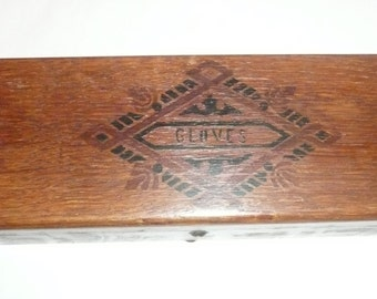 Vintage wooden glove box with inscription, shabby chic antique glove box