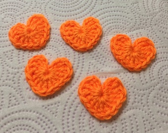 Crochet Heart Appliqués, Small Crochet Heart, Heart Appliqué, Heart Embellishments, Mini Hearts, Orange Hearts