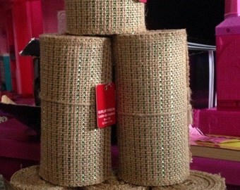 Green sparkle, stripe burlap