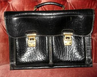 LEATHER BRIEFCASE - English Handmade Black Croc Leather Original 1950s  High Quality Professioal/Attachet case