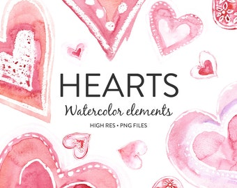 Watercolor Clipart - Hand painted Watercolor Hearts Clipart for Love, Loveliness and Romance