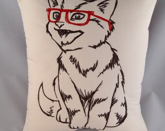 Accent pillow with machine embroidered Hipster Kitty