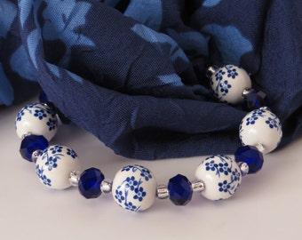 Blue Flower Ceramic Bead Bracelet / Blue Bead Bracelet / Ceramic Bead Bracelet /Flower Bracelet / Stretchy Beaded Bracelet - Fantastic 202
