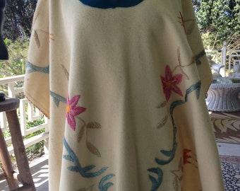 1940's cashmere wool hand embriodered poncho.  Excellent condition.