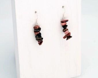 Rhodonite Chip Gemstone Earrings