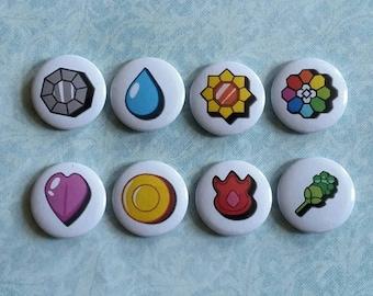 "Pokemon Badges Gen 1 - 1"" Pinback Buttons"