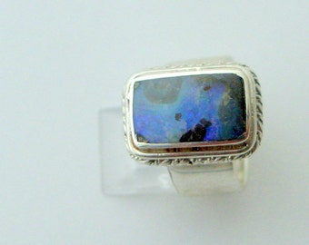 Australian Boulder Opal Ring, Sterling Silver Setting