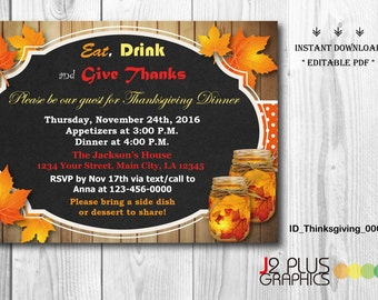 INSTANT DOWNLOAD Thanksgiving Invitations, Thanksgiving Party, Thanksgiving Invitation Instant Download, Invite Printable, DIY Editable pdf