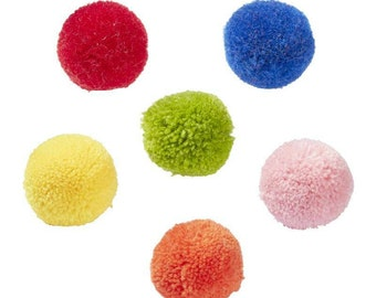 PomPom wool in rich colors - 6 pieces in different colors