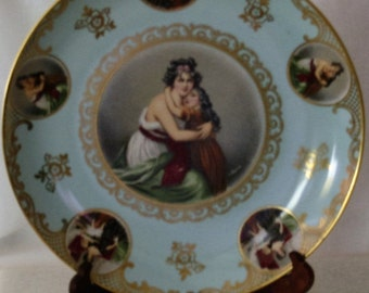 Antique Mitterteich Bavaria Cameo of Mother and Daughter Porcelain Charger Marked Germany 086 c.1930  Signed V.LeBrun