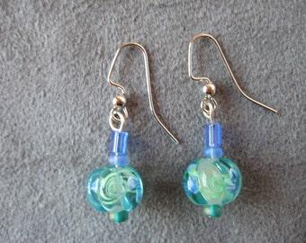 Earrings, sea green glass bead, glass bead, silver coored earrings, fishhook earrings