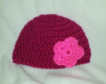 Girls newborn crochet hat