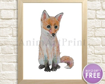 Fox Print Fox Art Fox Watercolor Painting Baby Animal Print Woodland Nursery Decor Fox Cub Baby Fox Animal Art Forest Animal Wildlife Gift