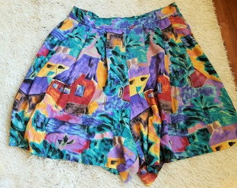 Vintage High Waist Funky Prints Shorts