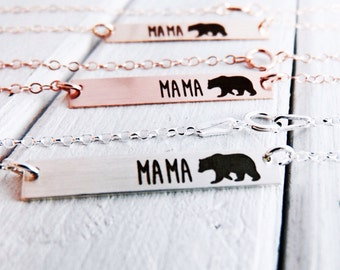 Mama Bear Horizontal Bar Necklace - Sterling Silver, Gold or Rose Gold -Perfect For Layering  Jewelry for Mom Necklace for Mom