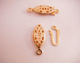 18x7mm Gold Filled Filigree Pearl Clasp Fish hook clasp 18K GF , GF0500