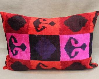 Pink Ikat Velvet Pillow -  16'' x 23''  Pink Pillow Accent Sofa Pillows Ikat Lumbar Pillow Cover Velvet Pillow Cover Pink Couch Pillow
