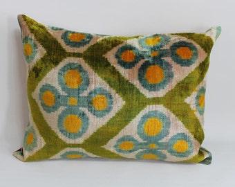 Double Side Ikat Pillow Case -  15'' x 20'' Decorative Pillows For Couch Sofa Pillows Lumbar Pillow Back Side Silk İkat Pillow Cover