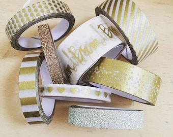 Heidi Swapp Decorative Tape Set of 8 tapes - golds