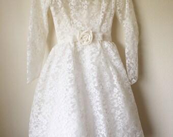 Vintage 50's 60's Lorrie Deb San Fransisco Tea Length Lace White Wedding Dress - Superb Vintage Condition