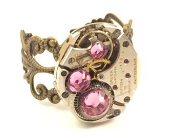 THREE PINK Steampunk Vintage Ring